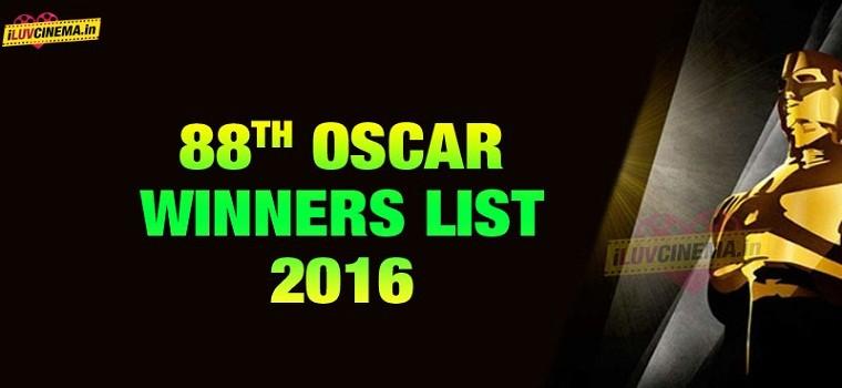 لیست کامل برندگان هشتاد و هشتمین مراسم اسکار (۲۰۱۶)